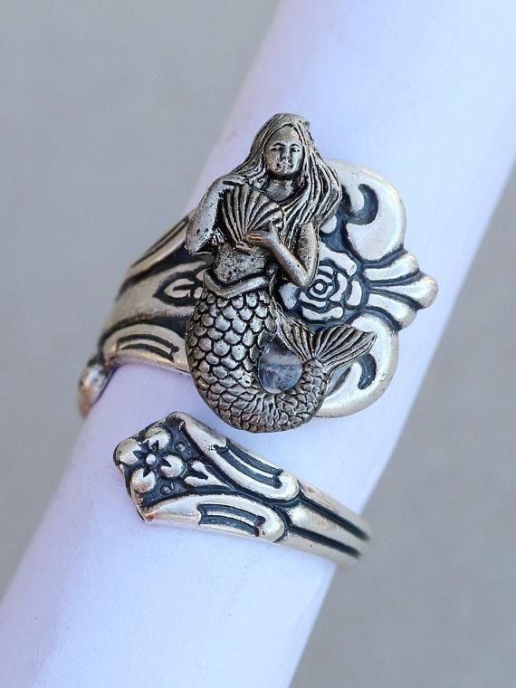 Retro Adjustable Silver Plated Mermaid Wrapped Spoon Ring
