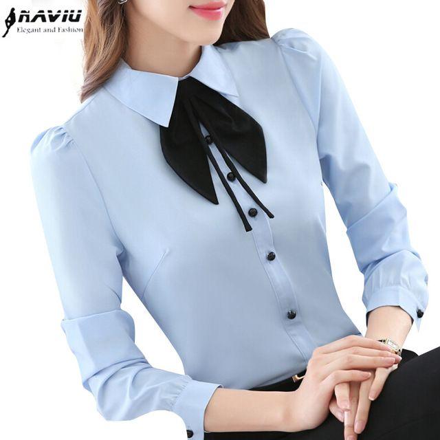 2016 Otoño nueva ropa de las mujeres camisa de manga larga OL elegante arco lazo Formal blusa de la gasa señoras de la oficina más el tamaño tops ropa de trabajo