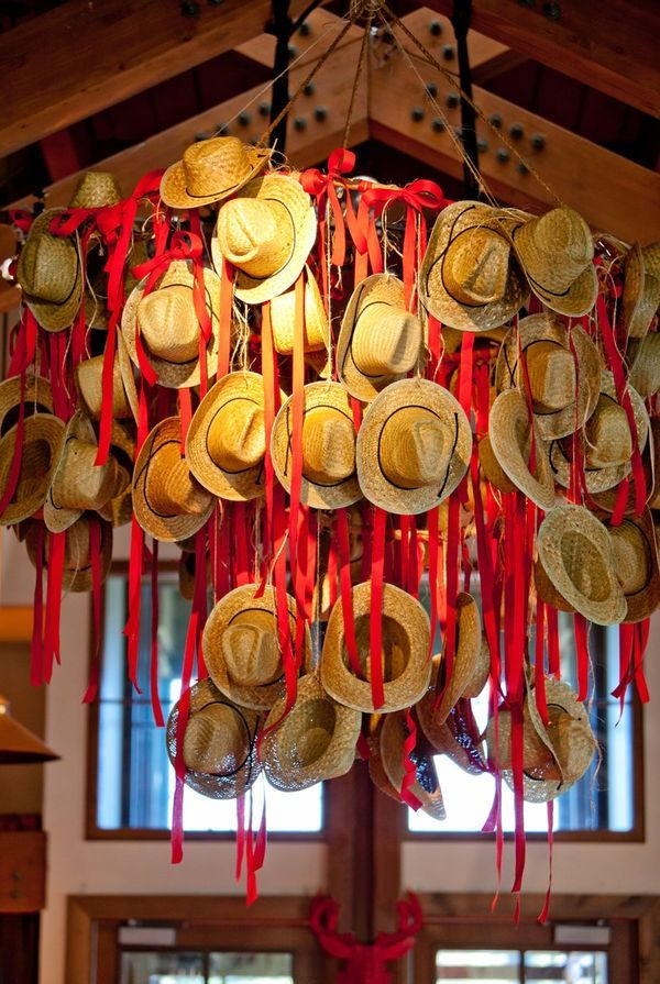 Cowboy Hat Chandelier from Aspen Wedding Welcome Party, Style Me Pretty  #polkadotdesign   #bridalshower
