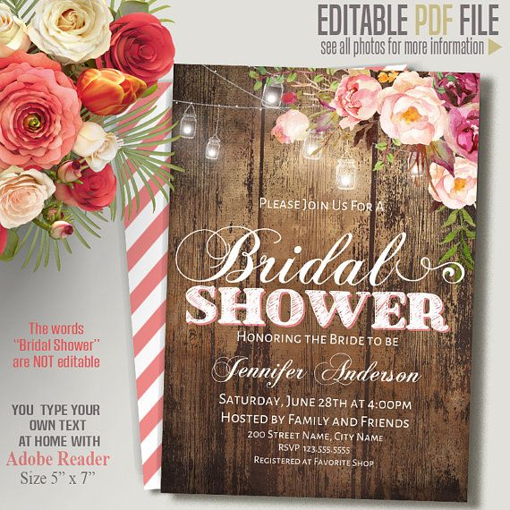 "Instant Download Self-Editable PDF template You type your own text at home using a desktop computer and latest free Adobe Reader Type and save your PDF file as many times or versions as you need! ✿The words ""Bridal Shower"" are Not Editable✿"
