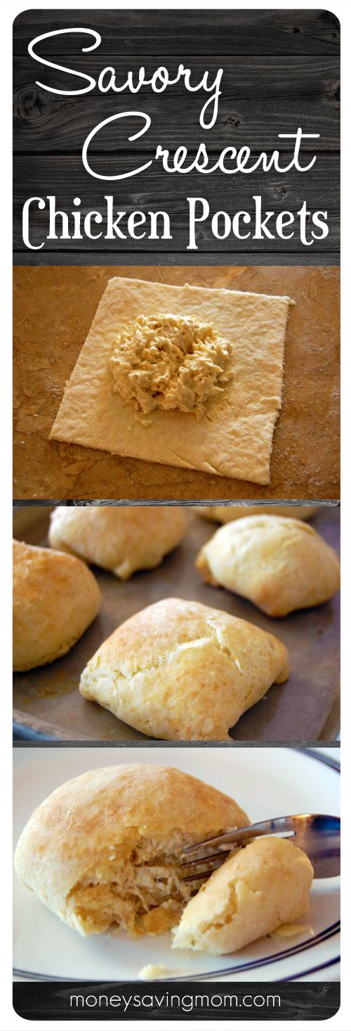 Savory Crescent Chicken Pockets - MoneySavingMom.com | I can testify that these are amazing! In fact, these were one of my favorite meals growing up. This is a must-try recipe. Trust me on that!