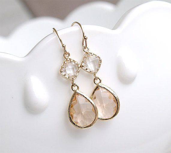 Champagne earrings in gold bridesmaid earrings blush for Jewelry for champagne wedding dress