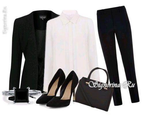 С чем носить классические черные брюки, фото