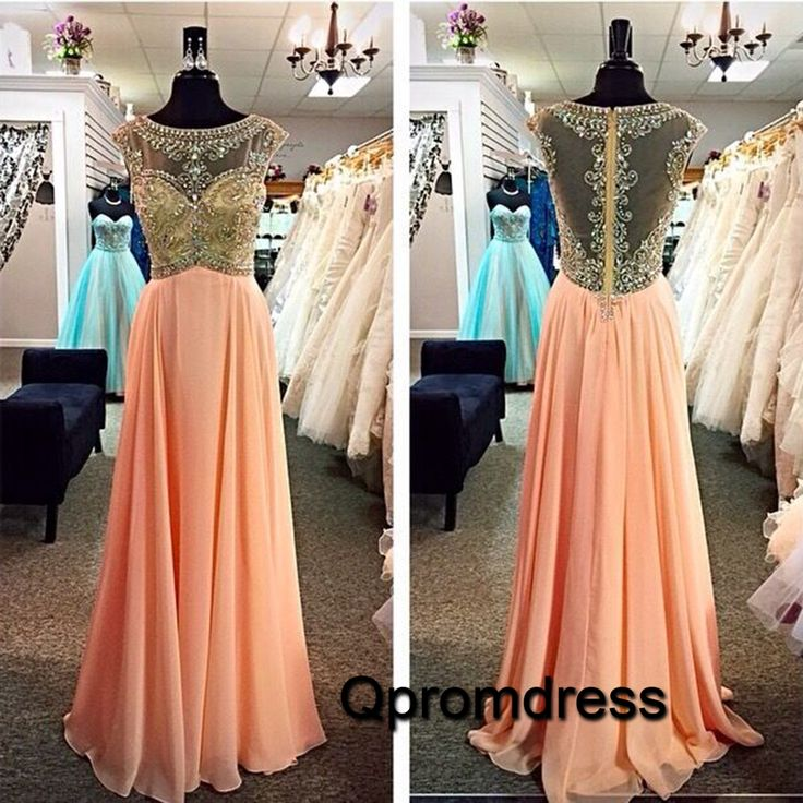 Beaded scoop neck see-through top champagne chiffon prom dress, 2016 long formal dress for teens #coniefox