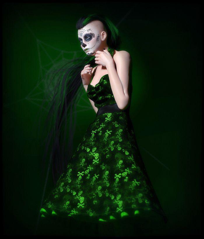 FRQ Dynamic Rockabilly Dress V4/Dawn // #rockabilly #gothic #halloween #daz3d #3d #dynamicclothing #dynamiccloth #poserpro #dynamic #frequency3d #frequency