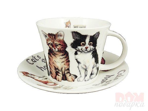 """Чайный набор на 1 персону """"Кошки"""", 2 пр., 500 мл., Roy Kirkham, Великобритания - Костяной фарфор"""