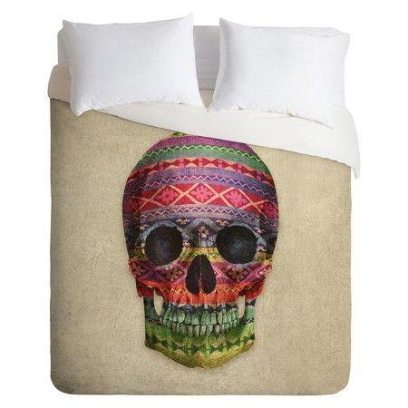 deny designs decorative skull lightweight duvet cover target