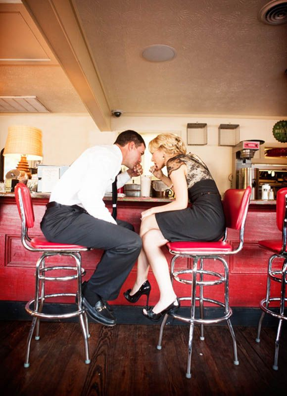 If I ever get married, I want engagement photos to include a diner, a malt, and us sharing the drink <3