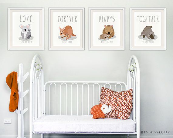 Parenthood prints for baby nursery decor. Australian animal nursery art. Love, always, forever, together. SET OF 4 prints by WallFry