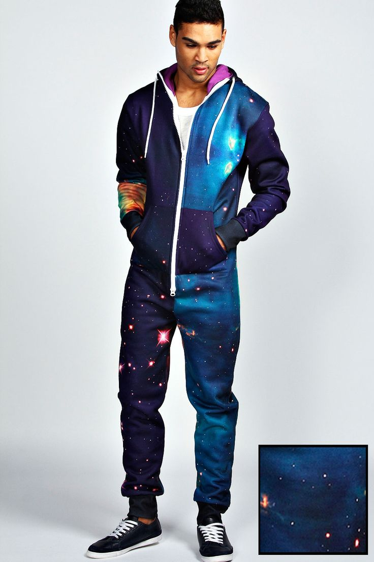 Outer Space Sublimation Print Hoodie Footless Onesie ...