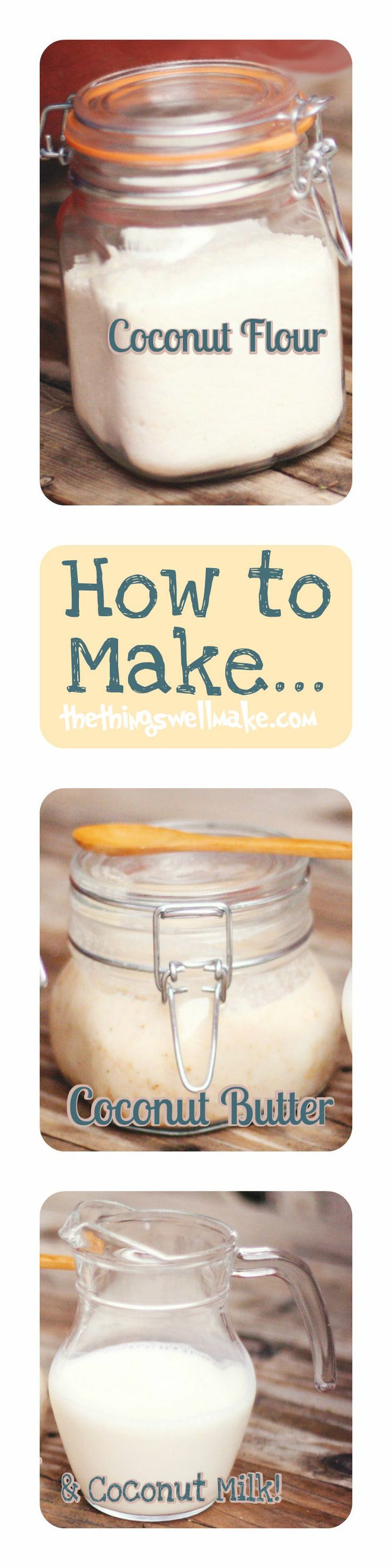 How to easily make your own Coconut Milk, Coconut Butter, and Coconut Flour using only desiccated (shredded) coconut and water. You can save money and avoid the possible BPA in cans!