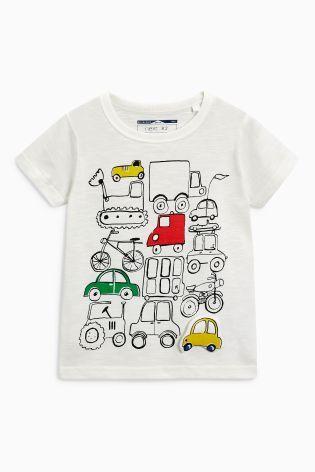 Ecru Wadded Car Short Sleeve T-Shirt (3mths-6yrs)