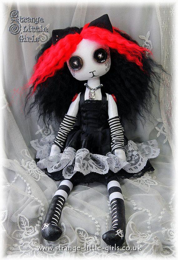 15 inch Goth Punk cloth cat art doll with button eyes - Kitty Ketamine