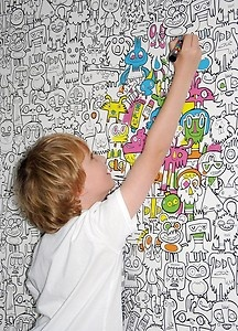 Colour in Novelty WALLPAPER Playroom Kids Children Bedroom Monster Burgerdoodle   eBay