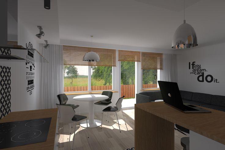 Kompleksowy projekt mieszkania w bloku. Jedna z wersji wykończenia salonu z…