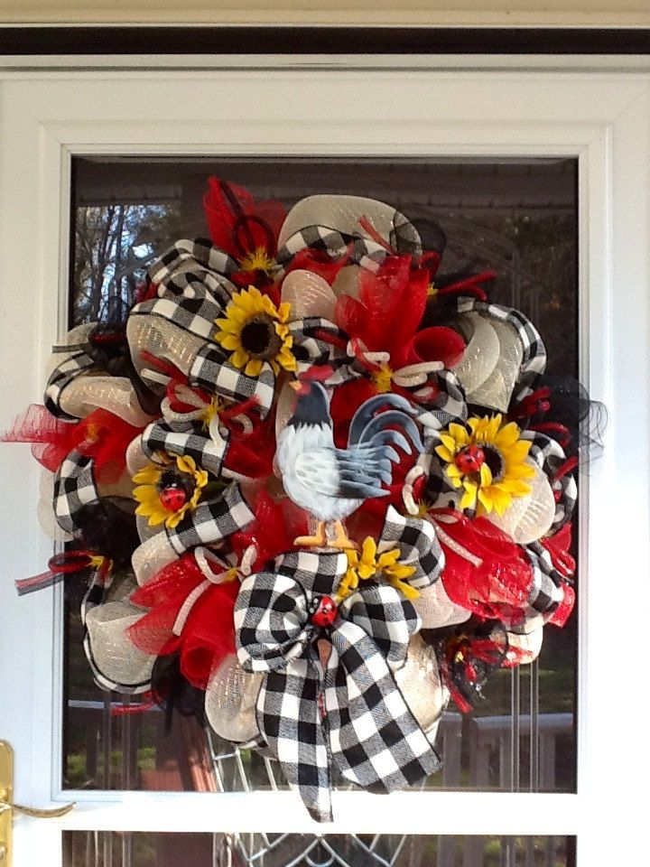 Deco Mesh Rooster Wreath. $135.00, via Etsy.
