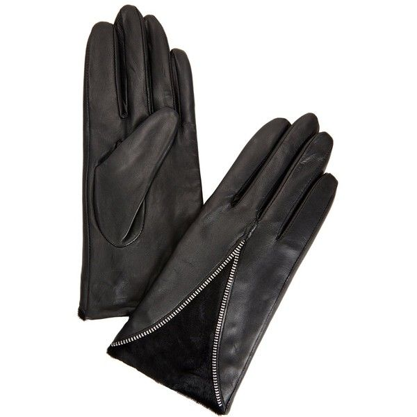 Dents Layla Black Leather And Calf Hair Gloves ($92) ❤ liked on Polyvore featuring accessories, gloves, leather gloves, dents gloves, real leather gloves and zipper gloves
