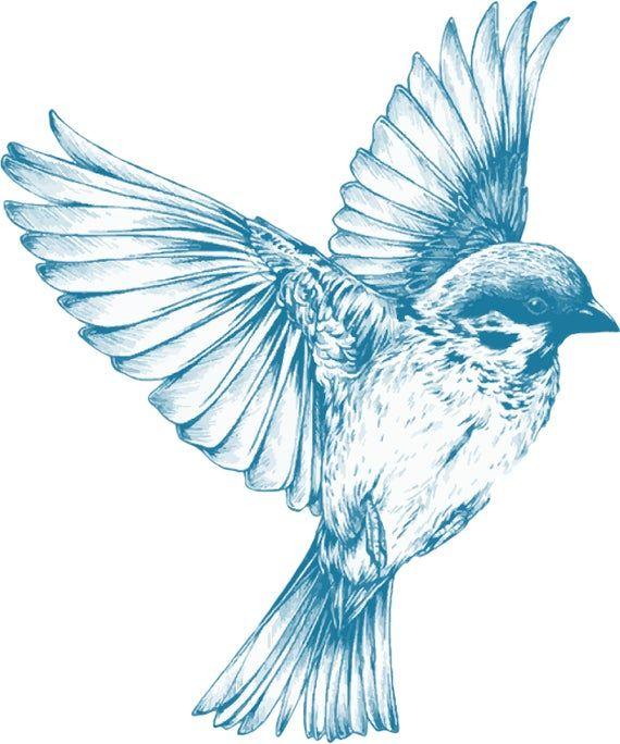 Vintage Blue Bird Clipart In Svg Eps Png Etsy Black Bird Tattoo Swallow Bird Tattoos Flying Tattoo