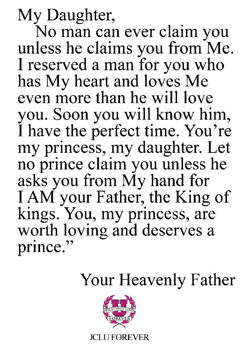 These precious words proved so true in both of our daughter's lives.  They waited for a godly man - and God proved His faithfulness!!  No young woman should settle for anything less than a God-picked husband.