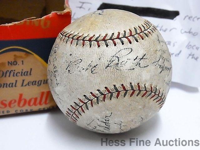1927 Babe Ruth New York Yankees Autograph Signed Lou Gehrig Team Baseball NR