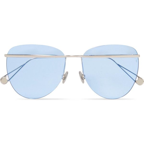 Sunday Somewhere Tallulah aviator-style silver-tone sunglasses ($295) ❤ liked on Polyvore featuring accessories, eyewear, sunglasses, blue, oversized glasses, oversized aviator sunglasses, aviator glasses, dot sunglasses and blue lens sunglasses