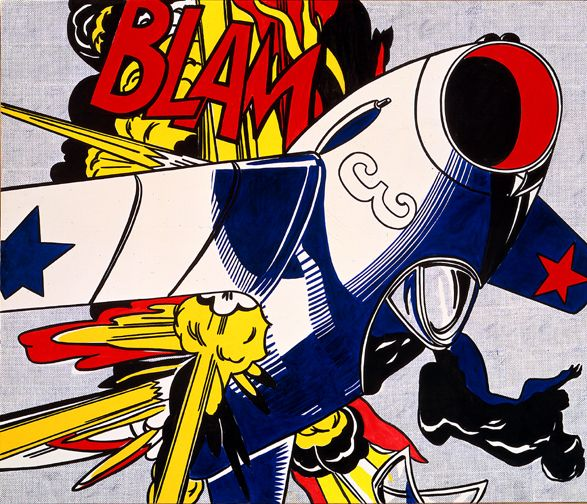 Blam Roy Lichtenstein Date: 1962 Style: Pop Art Genre: genre painting Media: oil, canvas Dimensions: 203.2 x 172.7 cm Location: Yale University Art Gallery, New Haven, Connecticut, USA