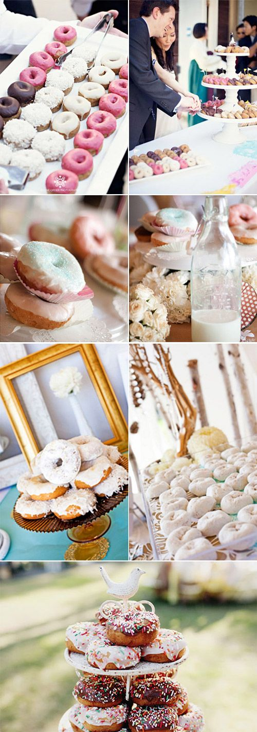"""Gourmet Doughnuts!  {Photo Credits: Row 1: Dee's Mini Organic Doughnuts by Divine Order Photography via Green Wedding Shoes, Row 2: Milk & Pretty Donuts on Dessert Table by April O'Hare Photography, Row 3: """"Snow"""" Coated Donuts On Custom Cake Stands by Justin Lee Photography via Inspired by This, Row 4: Doughnut Tower Groom's Cake Alternative via Yum Sugar}"""