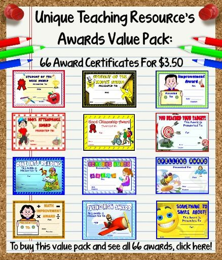 Kindergarten Awards Certificates: Awards And Certificates For Students