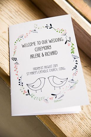 cute illustrated ceremony booklets | Arlene and Richard's Love is the Best Medicine inspired wedding by MOS Photography | www.onefabday.com