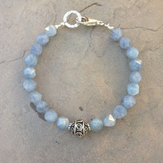 Mens Bracelet Aquamarine Bracelet Unisex by EastVillageJewelry
