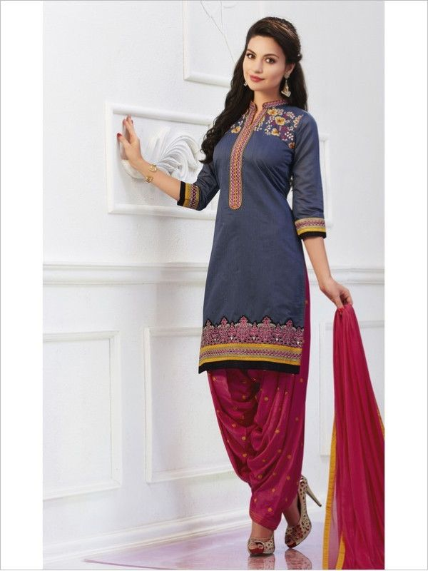 Grey Party Wear Art Silk Suit