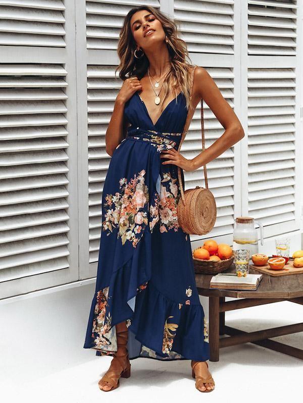 d298d94a89d Bohemia Floral V-neck Backless Split-side Maxi Dress