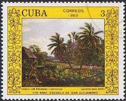 Znaczek: Landscape, by Valentin Sanz Carta (Kuba) (170 years of Academy of Art San Alejandro in Havana) Mi:CU 3151