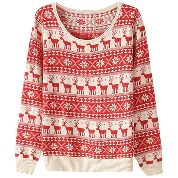 Womens Reindeer Snowflake Ugly Christmas Sweater Red (1.825 RUB) ❤ liked on Polyvore featuring tops, sweaters, red, snowflake sweater, red christmas sweater, red sweater, christmas tops and red top