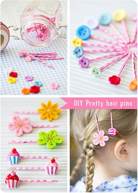 Christmas Gift for the girls: DIY Hair Pins... thinking this could be easily adapted for barrettes too. Cute little gift, and stuff like this (embellished hair things) always run high in price--and get lost so easily. Rather do it this way, and place in a pretty tin. :) MORE info here.