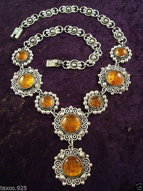 VINTAGE DESIGN TAXCO MEXICAN STERLING SILVER AMBER BEAD BEADED NECKLACE MEXICO