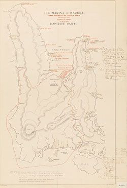 Ile Marina ou Marena: Tierra Australia del Espiritu Santo, découverte par Queiroz & Torres,1er May 1606. The island Queiroz discovered, now called Espiritu Santo, is part of Vanuatu.