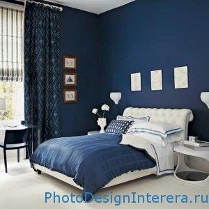 Дизайн спальни в синем цвете фото
