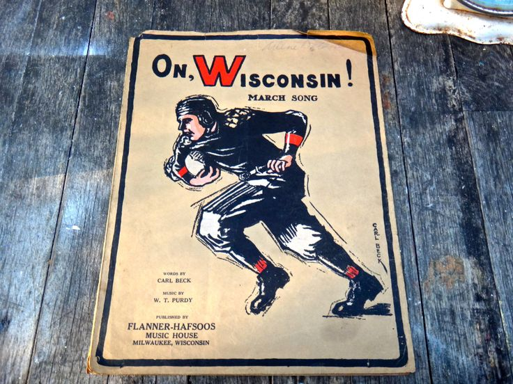 On Wisconsin Fight Song, Wisconsin March Song, 1927 Sheet Music, College Football Music, Musician, Beck and Purdy Music, Football Player, by MaxsUniquities on Etsy