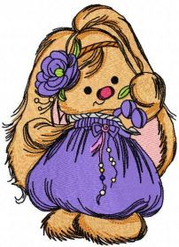 cute bunny girl embroidery design 5. Machine embroidery design. www.embroideres.com