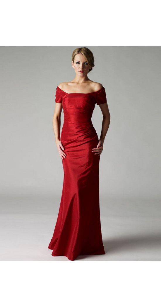 Etui-Linie aus Taft Carmen-Ausschnitt Kurze Ärmel mit Bodenlang Schnürung Rot Lange Brautmutterkleider günstig