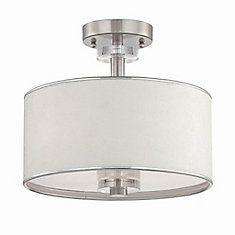 Savvy Collection 3 Light Satin Nickel & White Semi Flushmount