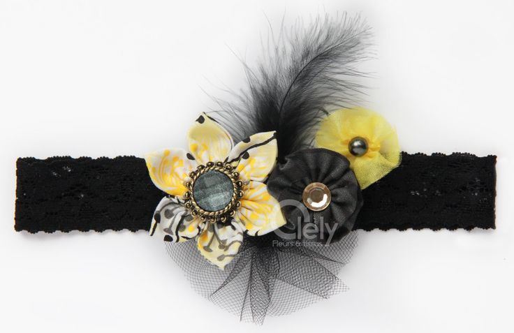 New Yellow and black headband  lace headband  adult by Olely