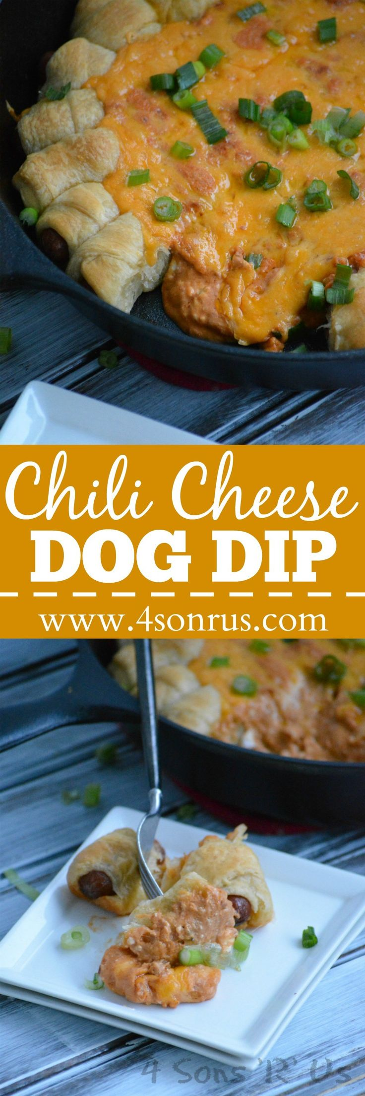 Creamy chili cheese dip is baked in the center of a pull apart ring of classic pigs in a blanket for an irresistible game day recipe. Have your team looking forward to this Chili Cheese Dog Pull Apart Dip appetizer while you wait for game time.