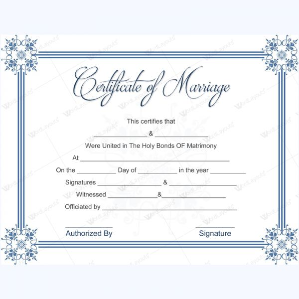 Simple Marriage Certificate Template Weddingcertificatetemplate
