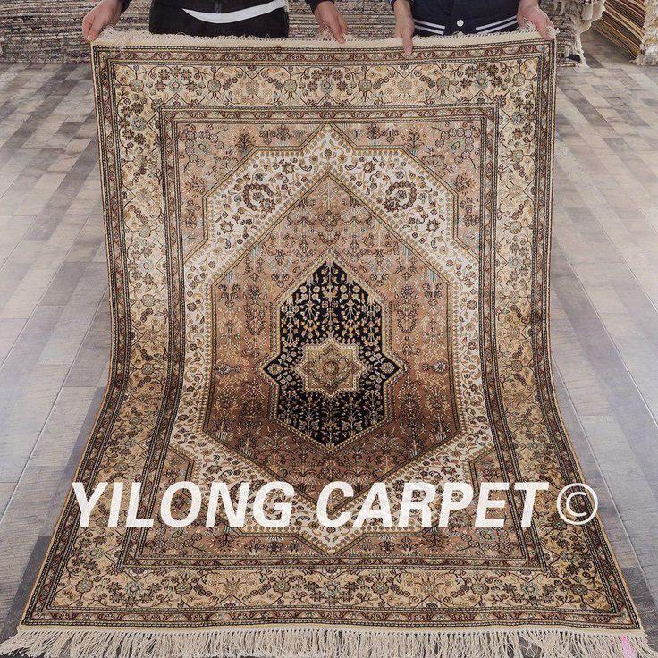 YILONG 4'x6′ Persian silk carpet vantage antique h…
