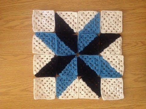 Cómo hacer una manta crochet con diseño patchwork / tutorial con videos   Crochet y Dos agujas - Patrones de tejido