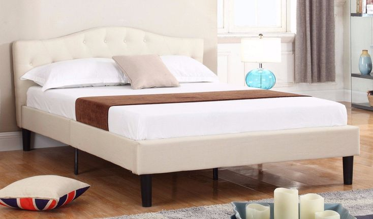 Josh Classic Tufted Fabric Bed - Ivory