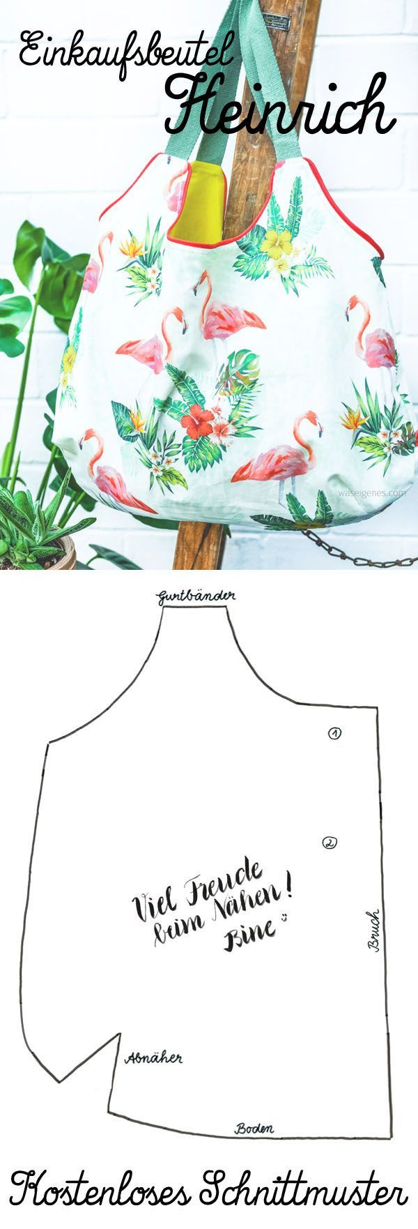 "DIY tote bag ""Heinrich"" with lining & webbing. Free pattern download."