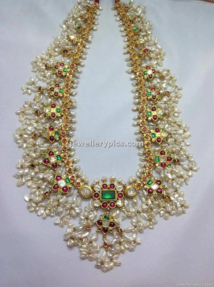 Antique traditional Gotta pusalu necklace designs from Boorugu jewellers. gotta pusalu is a famous old jewellery made with bunches of pearls